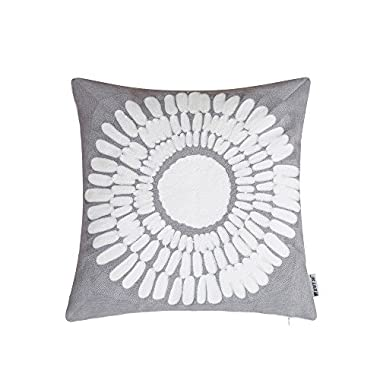 HWY 50 Grey Throw Pillows Covers for Couch Sofa 18 x 18 inch, Cotton Embroidered Decorative Grey Throw Pillows Cases for Bed, Euro Big Sunflower Decor Floral Pattern Cushion Covers