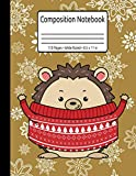 Cold Winter Cute Christmas Hedgehog Composition Notebook 110 Pages Wide Ruled 8.5 x 11 in: Kawaii Hedgehog Gifts For Christmas