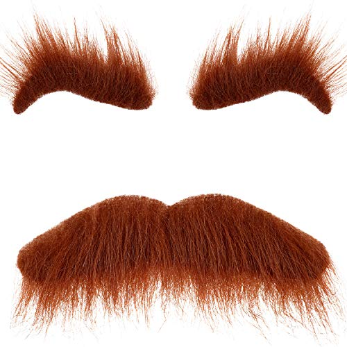 3 Sets Halloween Self Adhesive Fake Eyebrows Beard Funny Moustache Kit for Halloween Costumes Party Cosplay Props Brown
