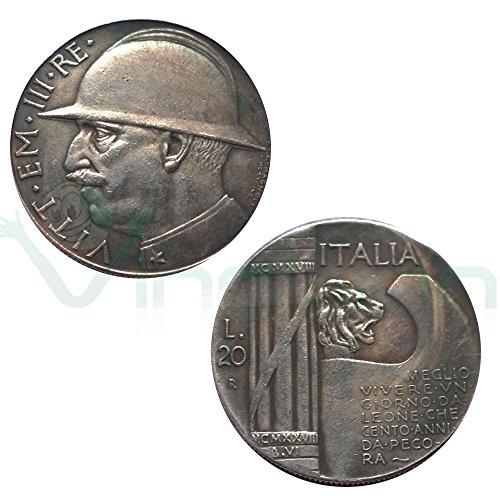 Moneta collezione 20 Lire Italia 1928 Re Vittorio Emanuele III LEONE littorio