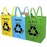 AMOS 3er Set Wiederverwendbare 53L Taschen mit Transportgriffen für Recycling
