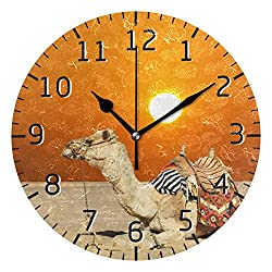 Bardic Lmuchen Wall Clock Animal Camel Sunset Non Ticking Round Art Clock Lightweight Vintage Silent Atomic Analog Kitchen Clock 9.8x9.8 inch
