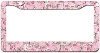 DKISEE Abstract Watercolor Packed Pigs License Plate Frame Aluminum Car License Plate Covers with 2 Holes 12