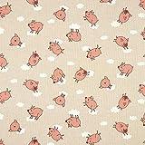 Dekostoff Halbpanama fliegende Schweine – natur —