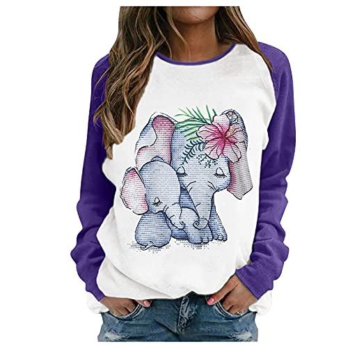 KUIGYI Damen Pullover Elefant Print Top Lässige Langarm Farbe Passendes Sweatshirt Passende Bluse für Herbst & Winter Freizeit zu Hause Urlaubsutensilien