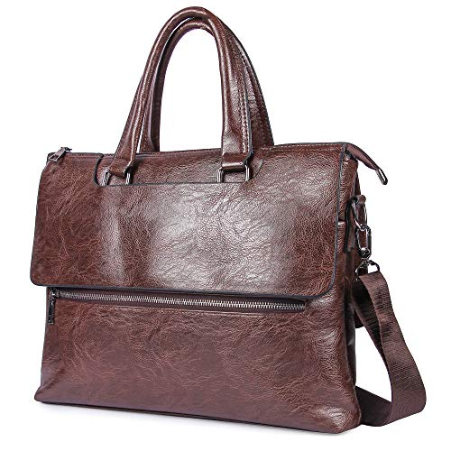 Groupy Bandolera de viaje para portátil de 13 pulgadas / 13.3 pulgadas MacBook Air o Pro Laptop – Diseñador o elegante bolsa de portátil para hombres y mujeres (cuero vegano, marrón)