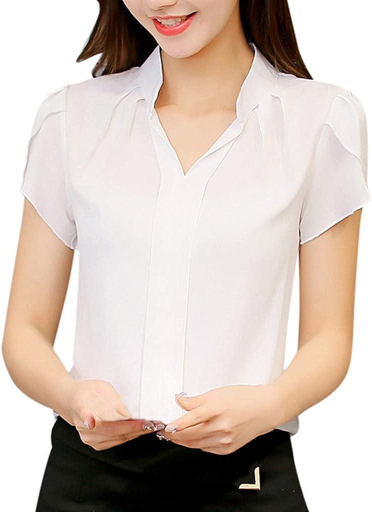 Mujer Blusa De Gasa Color Sólido Camisas Manga Corta V ...