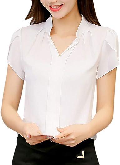 Mujer Blusa De Gasa Color Sólido Camisas Manga Corta V-Cuello ...