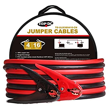 TOPDC 100% Copper Battery Jumper Cables 4 Gauge 16 Feet 380AMP Heavy Duty Booster Cables with Carry Bag and Safety Gloves (4AWG x 16Ft) (New/Old Package)