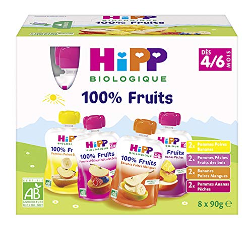 Hipp Biologique - Compotes 100% fruits assortis BIO dès 4/6 mois - 4 boîtes de 8 gourdes (8 x 90 g) soit 32 gourdes