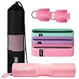 G4Free 7pcs Barbell Pad Set for Squat, Hip Thrusts, Lunges, Leg day, Standard Olympic Bars with 2 Gym Ankle Safety Straps, 3 Hip Resistance Bands ,Barbell Pad and Carry Bag (Pink)