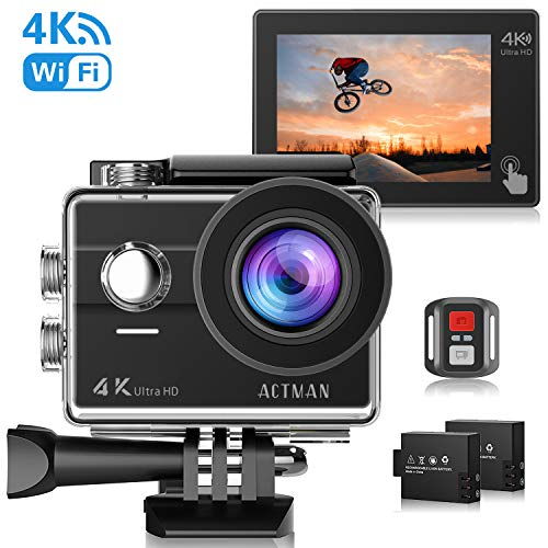 ACTMAN 4k Action Camera, Waterproof Sports Camera with 170 Degree Lens & Touch Screen, Ultra-High Definition Underwater Camera with WiFi & 2 Rechargeable Batteries & Mounting Accessories Kits