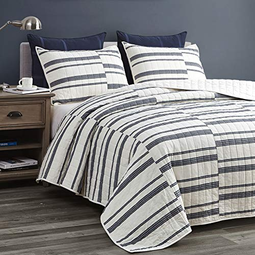 SHALALA NEW YORK Abstract Patchwork Quilt Set (3 Piece) - Modern Farmhouse Coverlet with Midnight Blue Lace Jacquard on Cream Stripe – 1 Breathable 100% Cotton Quilt with 2 Matching Shams (King)