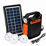 ZYYNET 4000MAH Portable Power Bank Home blutooth USB Charger System with FM Radio Solar Power Panel Generator Kit with 3 LED Bulbs Light Outdoors Camping Travel Hunting Lighting,4000MAH
