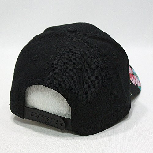 Premium Floral Hawaiian Cotton Twill Adjustable Snapback Hats Baseball Caps (Varied Colors) (Black/Hawaiian)