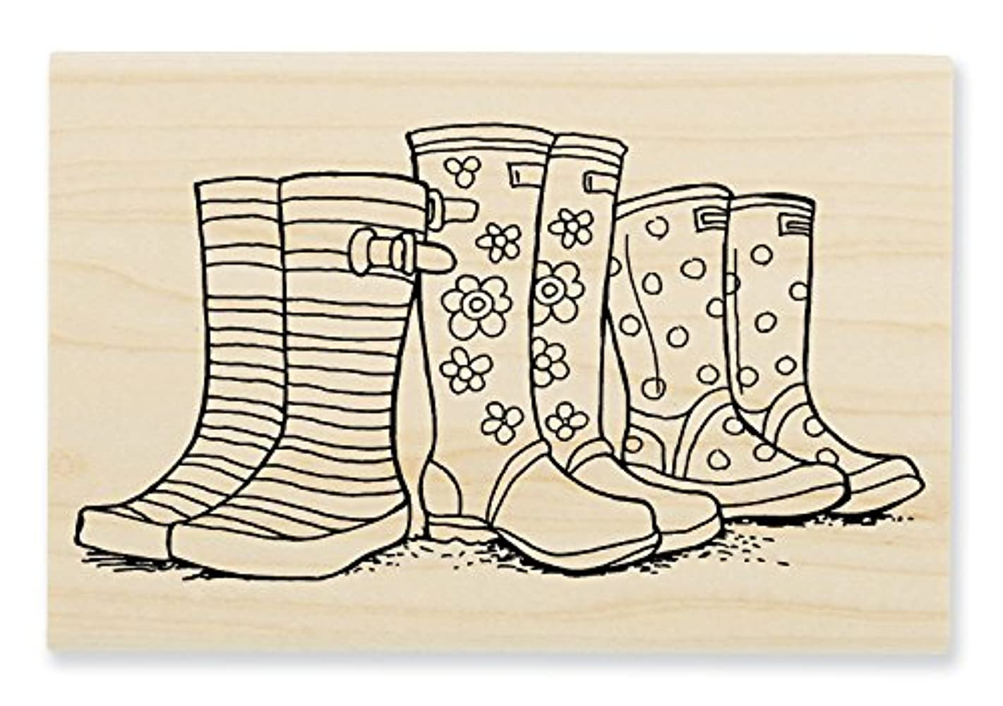 STAMPENDOUS Wood Stamp, Puddle Boots