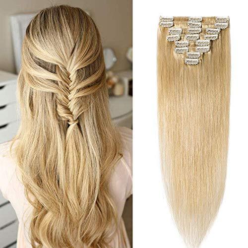 Clip In Extensions Echthaar 55cm 100% Remy Haarverlängerung dünn 8 Tressen 18 Clips 75g - (#24 Natürlich Blond)