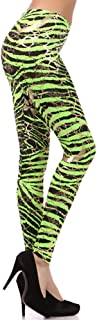 Metallic Neon Animal Zebra Print Leggings w/Gold Accents Pants