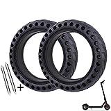 ehua® Pneu Plein Xiaomi Trottinette M365, M365 Pro, Roue Alveolée Dure Anti Crevaison Anti dérapant Increvable Solide 8,5 Pouces Avant/Arrière (2X pneus + 2 démonte pneus)