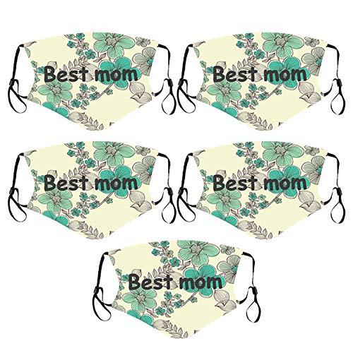 Algodón Estampadas para El Día La Madre para Adultos, Lavables, Reutilizables, Transpirables, Pañuelos con Bolsillo para Filtro, Longitud Ajustable para El Día La Madre, Regalos para Mamá