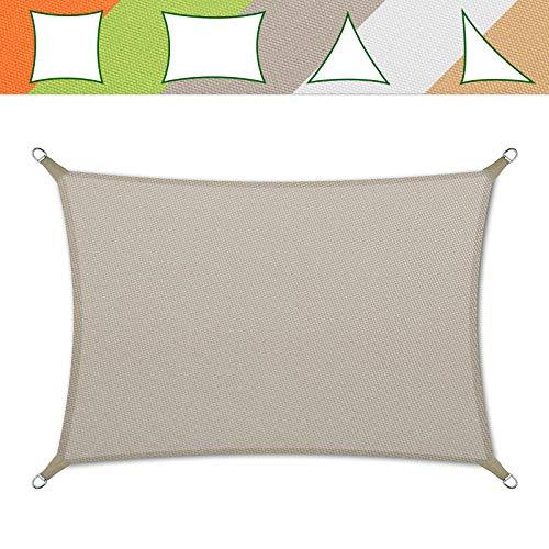 casa pura® Sonnensegel wasserabweisend imprägniert | Testnote 1.4 | Rechteck | UV Schutz Größen (grau, 5x7m)