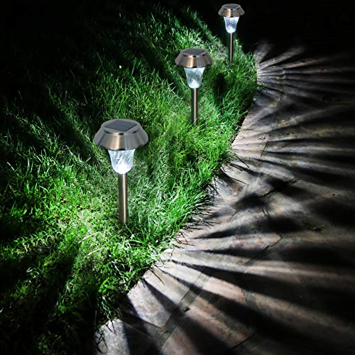 Enchanted Spaces Silver Solar Path Light, Set of 6, with Glass Lens, Metal Ground Stake, and Extra-Bright LED for Lawn, Patio, Yard, Walkway, Driveway