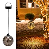 2 Pack Hanging Solar Lanterns, OxyLED Solar Lights Outdoor, LED Lanterns Solar Powered Waterproof, Decorative Retro Metal Solar Lights for Table Garden Patio Yard Pathway Walkway Christmas