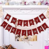 Merry Christmas Banners Party Garland Bunting Sign for Holiday Party Decoration Favors (Style B)