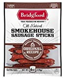 Bridgford Smokehouse Sausage Sticks, High Protein, Made With 100% American Beef, Gluten Free, Original, 6 oz, Pack of 3