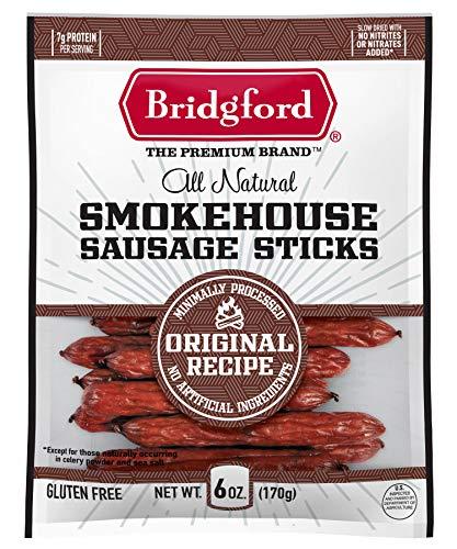 Bridgford Smokehouse Sausage Sticks, High Protein, Keto Snack, Naturally Smoked Sausage, Ready to Eat, Low Carb, Original Flavor, 6 oz, Pack of 2