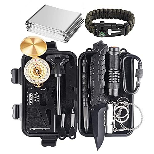 Kit de supervivencia, equipo profesional de supervivencia de emergencia 15 en 1, herramienta de defensa mejorada para senderismo, acampada, escalada, aventuras, herramienta de emergencia, regalo para