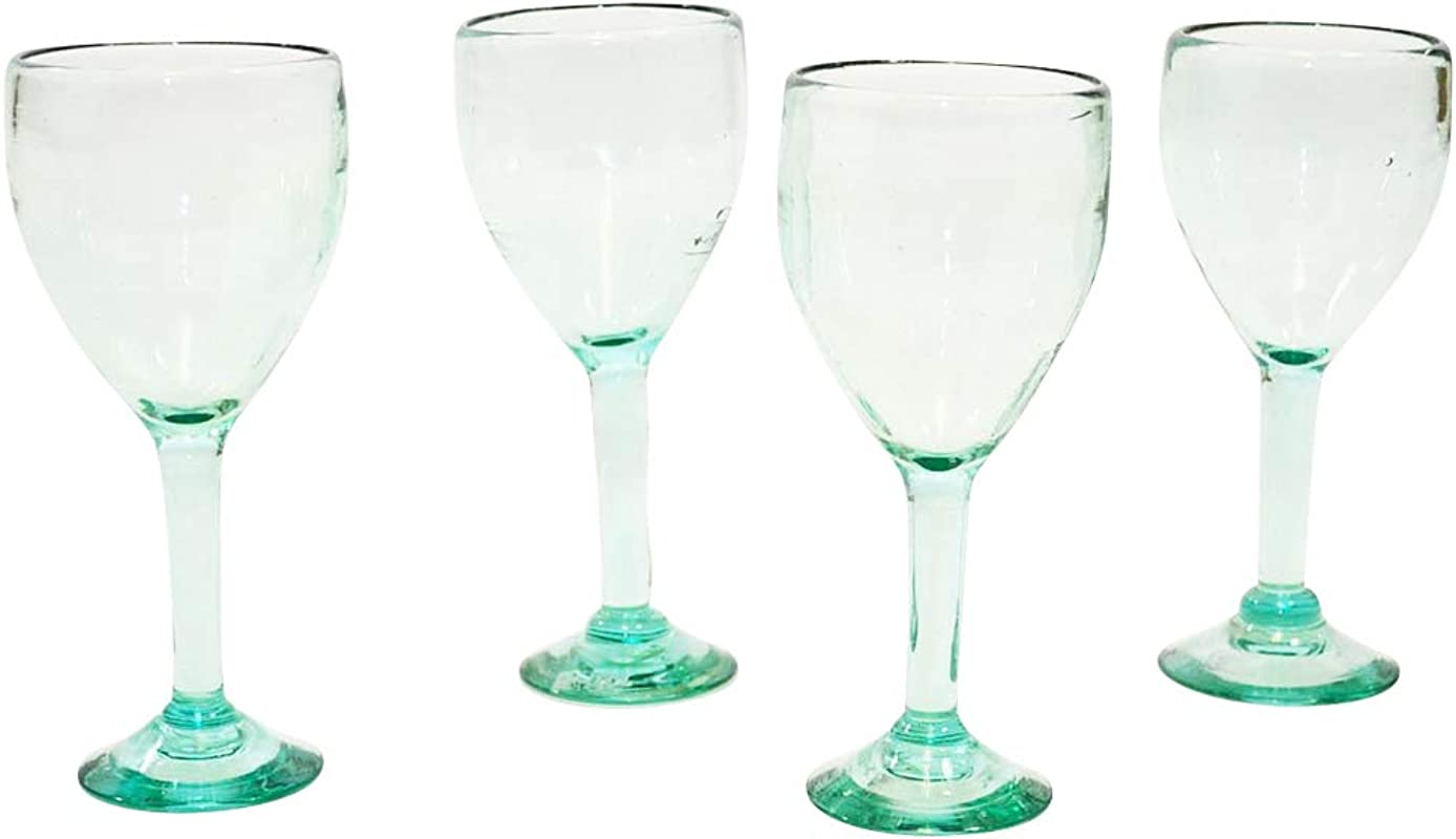 Set Of 4 Handmade Mexican Recycled Clear Wine Glasses 12 Ounces