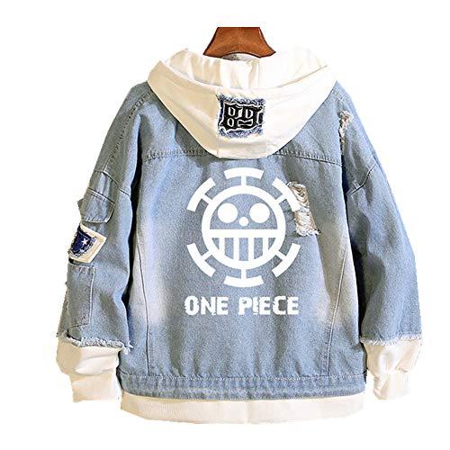 One Piece Anime Hombre Mujer Chaquetas de Mezclilla Denim Jacket Cosplay Jeans Hoodie Sudaderas (8,EU L(Asian XL))