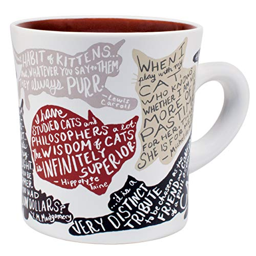 Literary Cat Mug – Kitten Quotes From Famous Writers Authors and Other Feline Lovers – Comes in a Fun Gift Box