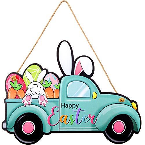 Jetec Happy Easter Hängendes Zeichen LKW Hase Willkommen Holztür Zeichen LKW Hängende Plakette Rustikale Wandschild Hof Indoor Outdoor Garten Dekoration mit Seil, 13,4 x 10 Zoll