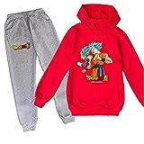ZKDT Sudadera con capucha unisex de Dragon Ball Goku con estampado de Goku y sudadera de manga larga y pantalón de chándal 3-14 Diseño 3 120 cm