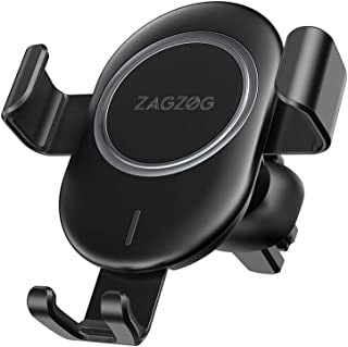 Zagzog Wireless Car Charger Mount Adjustable Gravity Air Vent Phone Holder for iPhone and Android Smartphones Qi Certified (Black)