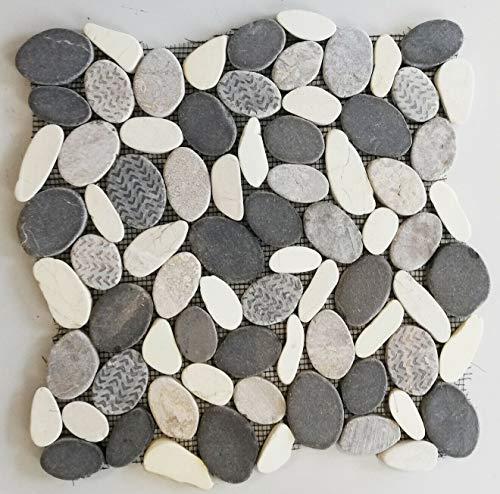 Mosaik Fliese Kiesel geschnitten mix White/Grey für WAND KÜCHE Fliesenspiegel Thekenverkleidung Wandverblender