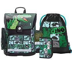 Schulranzen Jungen Set 3 Teilig - Schultasche ab 1. Klasse - Grundschule Ranzen mit Brustgurt - Ergonomischer Schulrucksack (Dino)