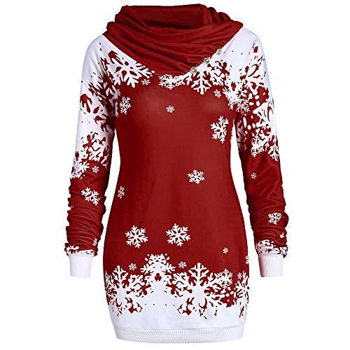 OSYARD Weihnachts Pullover Kleid Slim Fit Christmas Sweatshirt Damen, Mode Frauen Langarmshirt Frohe Weihnachten Snowflake Printing Tops Cowl Neck Strickpullover Lang Bluse Shirt(XL, X1-Wein)