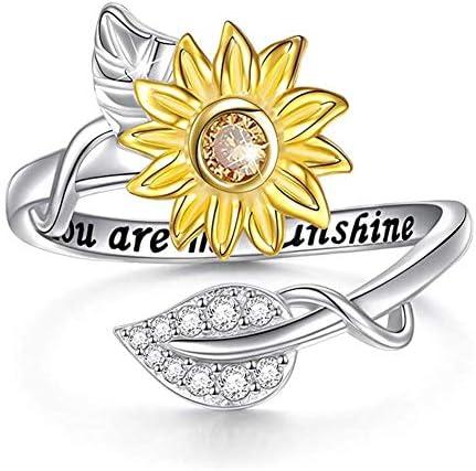 Sunflower Flower Ring Crystal Diamond Zirconia Rhinestone Finger Rings You are My Sunshine Openable product image