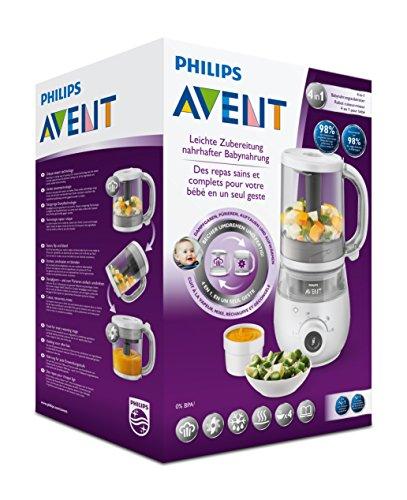 Philips Avent 4-in-1-Babynahrungszubereiter SCF883/01, Dampfgaren und Mixen, 4 Mahlzeiten, weiß - 7