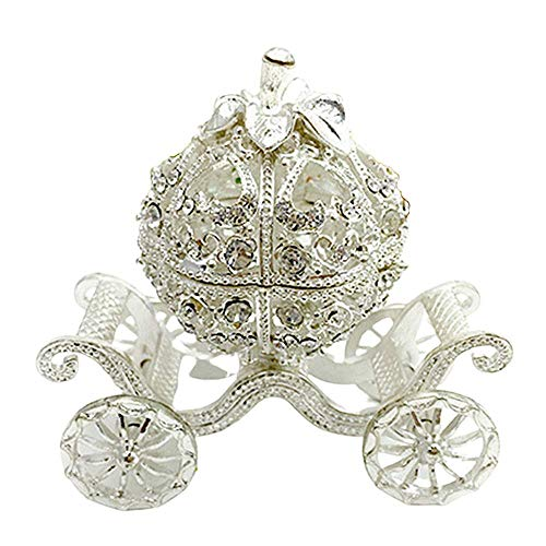 MUY Caja de Almacenamiento de Joyas, baratija de joyería de Diamantes de imitación de Metal, Estilo Princesa, Forma de Carro, artesanía, decoración del hogar, Día de San Valentín
