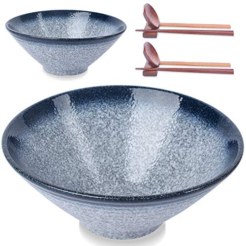 (2 Sets 8 PCS) Large Ceramic Japanese Ramen Bowls, 60 oz, for Soup, Noodle, Pho, Udon and Soba, with Matching Spoons, Chopsticks and Racks, Blue
