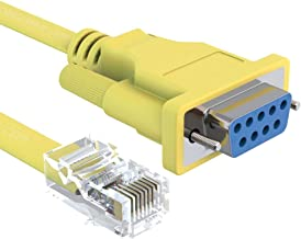 20 Foot Yellow DB9 Female to RJ45 Male Rollover Console Cable for Cisco by CableRack