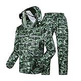 LXLTLB Regenjacke Mit Kapuze Und Regenhose, Wasserdichter Anzug Für Herren Camouflage-Muster, Mit Anti-Speichel-Kappe,XXL
