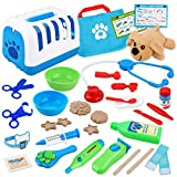 D-FantiX Vet Kit for Kids, 34Pcs Pretend Play Toy Veterinarian Kit, Dog Care Doctor Play Set Stuffed Puppy Transport Carrier Examine & Treat Feed & Groom Pet Vet Playset for Toddler Boys and Girls