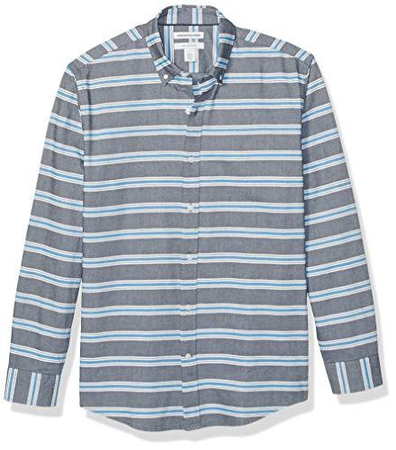 Amazon Essentials Men's Regular-Fit Stripe Long-Sleeve Pocket Oxford Shirt, Blue Horizontal, XX-Large