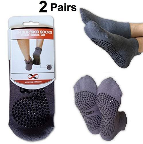 Rutschfeste Socken, für Krankenhausgebrauch, Reisen, Yoga oder Pilates-Studio, Reha, Trampolin, Kampfsport, Fitness, Heimgebrauch, 2 Paar Vorteilsset, für Damen und Herren M/L Grau - 2 Paar