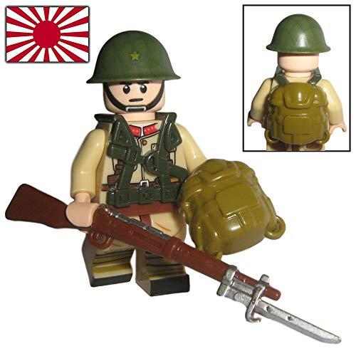 Custom Brick Design - WW2 Serie - Japanischer Luftlande Soldat V.1 Figur - modifizierte Minifigur des bekannten Klemmbausteinherstellers und somit voll kompatibel zu Lego